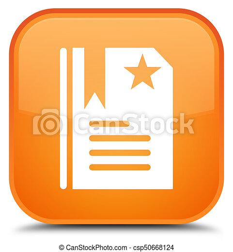Bookmark icon special orange square button - csp50668124
