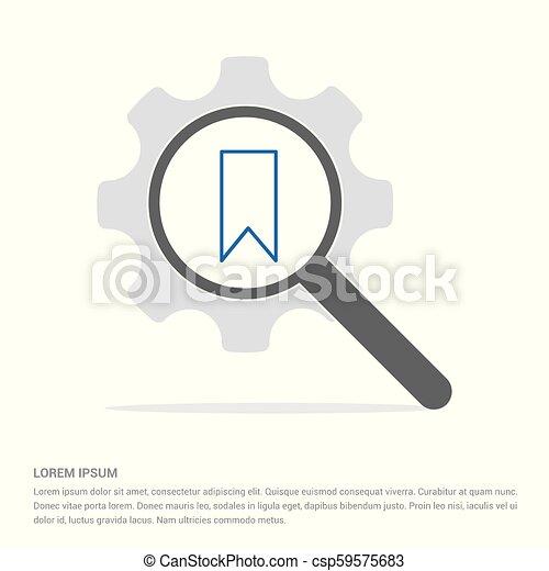 Bookmark ribbon icon Search Glass with Gear Symbol Icon template - csp59575683