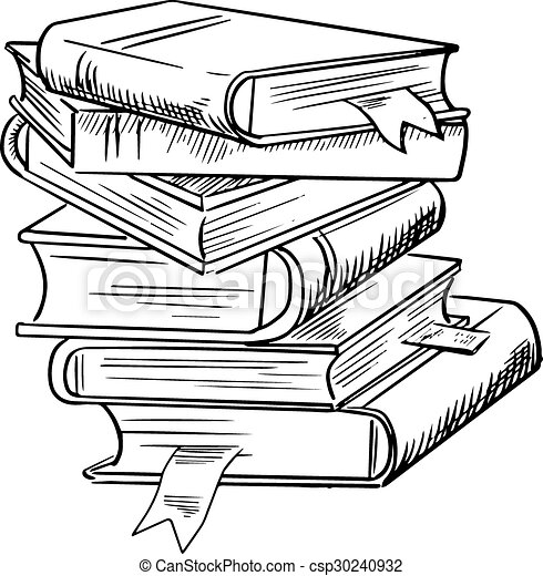 Bücherstapel zeichnung  Bookmarks, buecher, stapel. Skizze, kenntnis, stapel, freigestellt ...