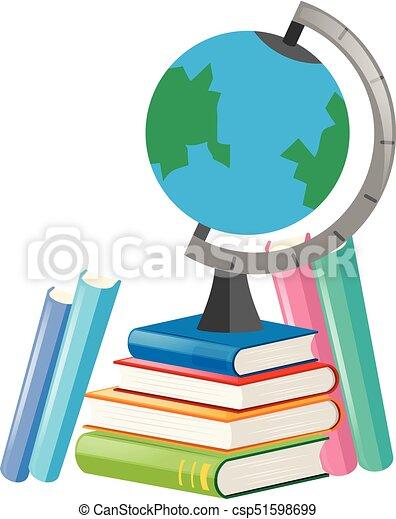 Books and globe on white background - csp51598699