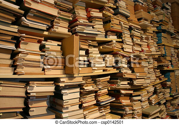 Books, books, books... Thousands of books in a second-hand bookshop - csp0142501
