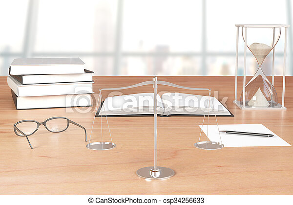 Books, eyeglasses with scales and hourglass on wooden table - csp34256633