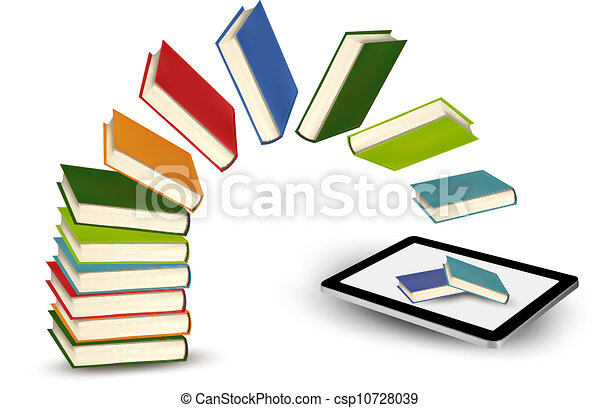 Books flying in a tablet - csp10728039