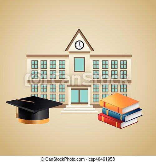 Books graduation cap and building design - csp40461958