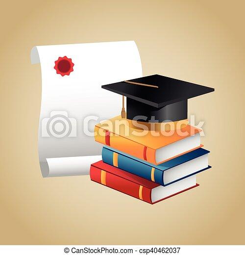 Books graduation cap and diploma design - csp40462037