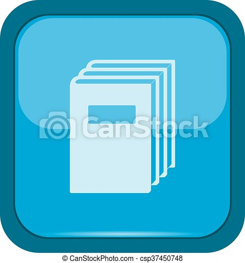 Books icon on a blue button - csp37450748