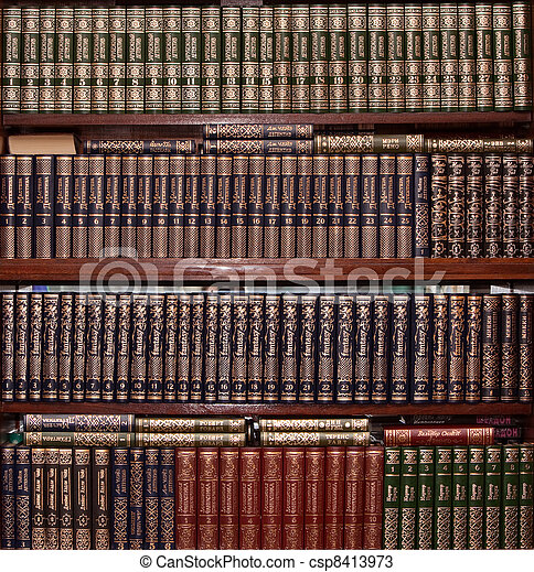 Books in gold cover in library - csp8413973