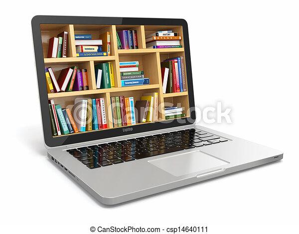 Educación de aprendizaje electrónico o biblioteca de Internet. Laptop y libros. - csp14640111