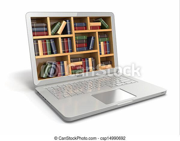 Educación de aprendizaje electrónico o biblioteca de Internet. Laptop y libros. - csp14990692