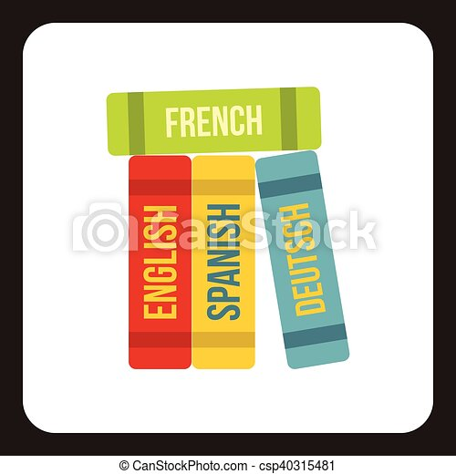 Books of foreign languages icon, flat style - csp40315481