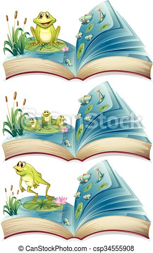 Books of frogs living in the pond - csp34555908