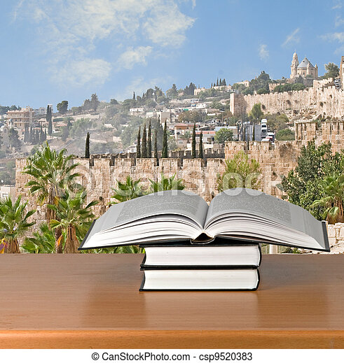 Books on desk - csp9520383