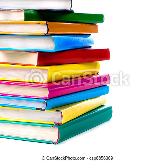Books pile isolated on white - csp8856369