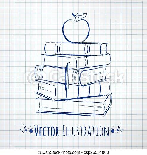 books., stapel, appel - csp26564800