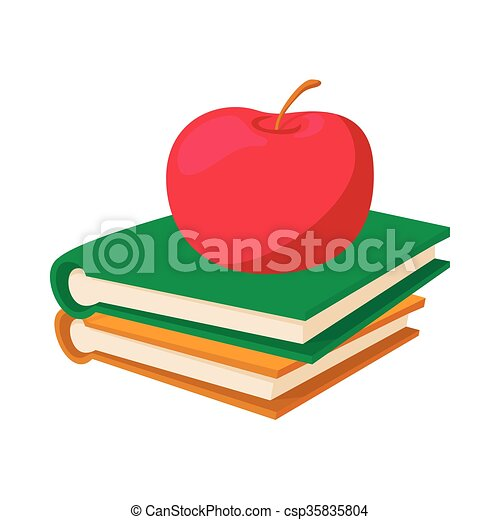 Books with apple icon, cartoon style - csp35835804