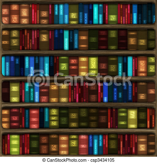 Bookshelf Books Computer Generated Cartoon Of Six Fully Stocked