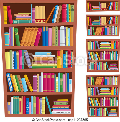 Bookshelf Cartoon Illustration Of In 5 Different Versions