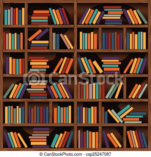 Bookshelf Background Of Library Book Shelf