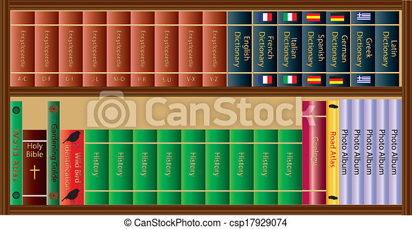 A Bookshelf Full Of Reference Booksdictionariesphoto Albums And