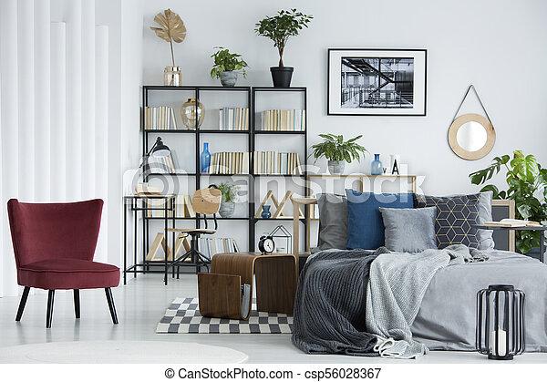Bookshelf in bedroom - csp56028367