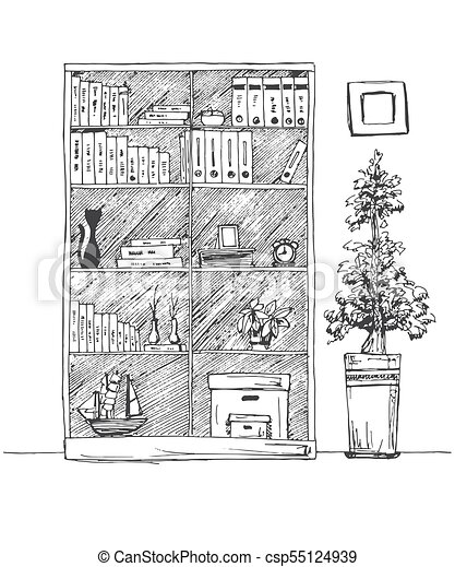 Bookshelf Isolated On White Background Vector Illustration Of A Sketch Style