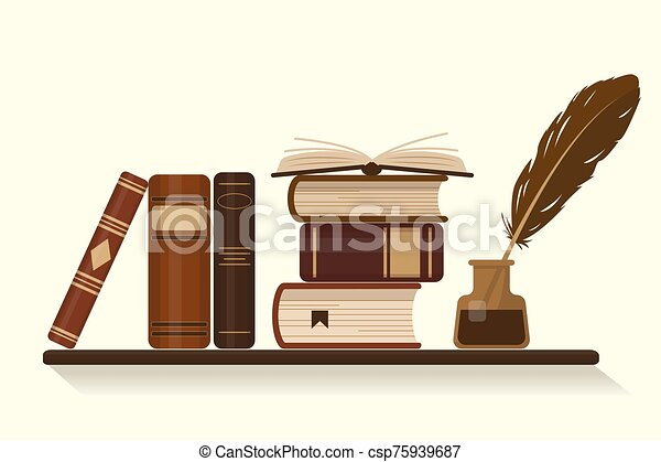 Bookshelf with old historical books - csp75939687