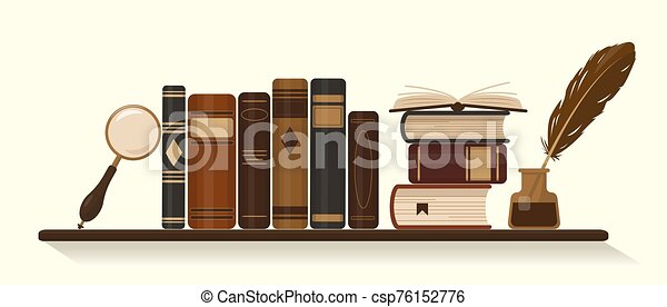 Bookshelf with old or historical brown books - csp76152776