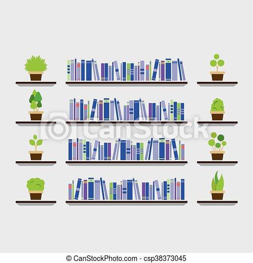 Bookshelf With Pot Plant On Wall