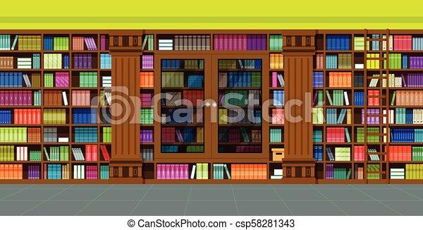 bookshelves library - csp58281343