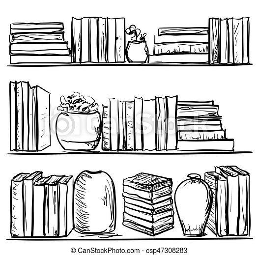 Bookshelves Sketch Hand Drawn Interior Elements