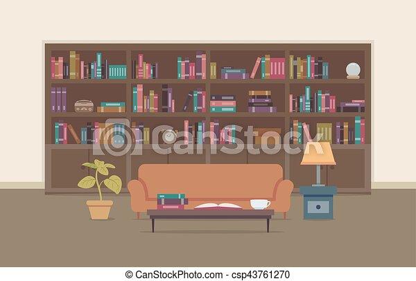 Bookshelves Sofa Room Flat Interior - csp43761270 & Bookshelves sofa room flat interior. Flat illustration of a personal ...