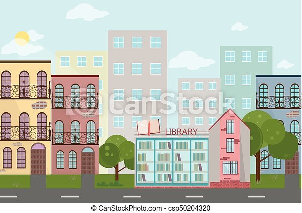 bookshop in a town vector illustrations modern flat style vector rh canstockphoto com