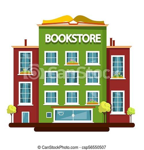 Bookstore Building. Vector Flat Design Illustration. - csp56550507