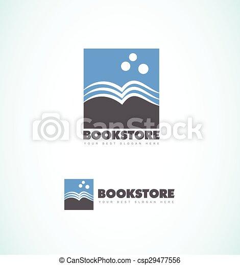 Bookstore logo. Vector company logo icon element template book shape ...