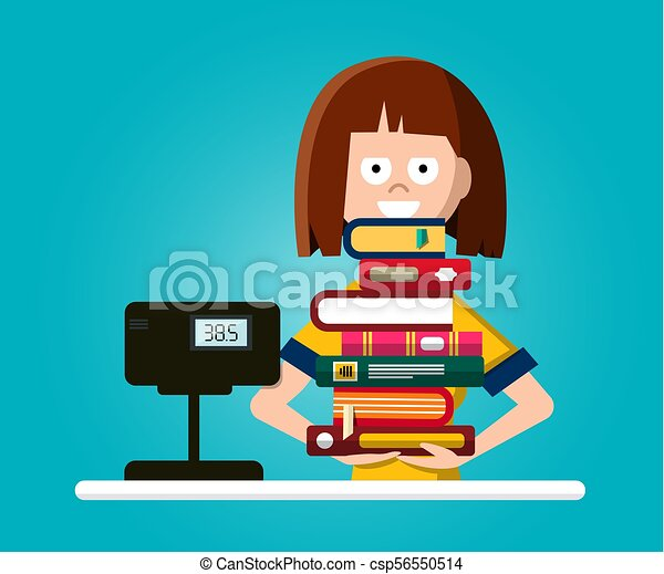 Bookstore or Library Vector Flat Design Illustration with Woman with Pile of Books - csp56550514