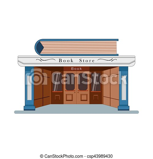 Bookstore with a large book in the flat roof style isolated on white background. Vector, illustration EPS10. - csp43989430