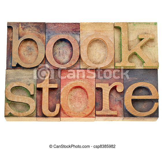 bookstore word in letterpress type - csp8385982