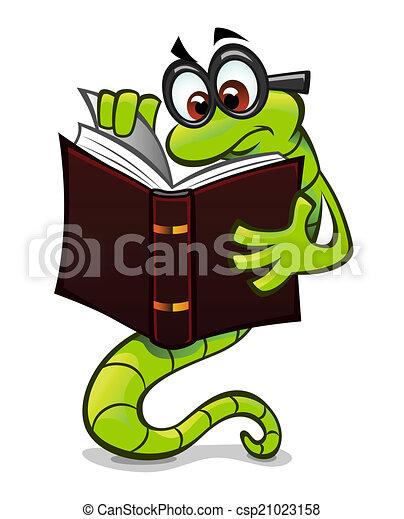 Bookworm Pensive Green Cartoon Bookworm Reading A Book