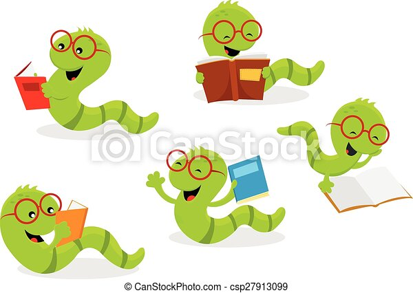 bookworm set vector illustration of cute little bookworms rh canstockphoto com Bookworm with Glasses Graphic Tennis Clip Art Free