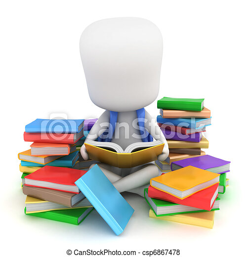 Bookworm. 3d illustration of a kid surrounded by stacks of ...