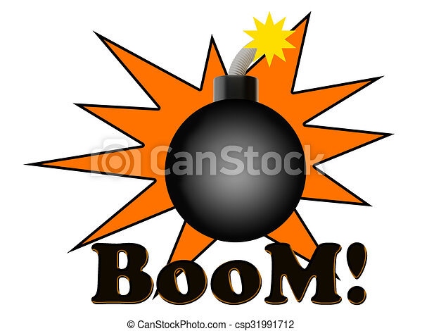 boom bomb blast on white background rh canstockphoto com bullet clipart images blast clipart png