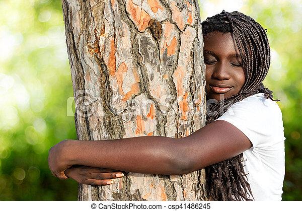 Boom Omhelzen Vlechten Snotneus Afrikaan Tiener Hairstyle