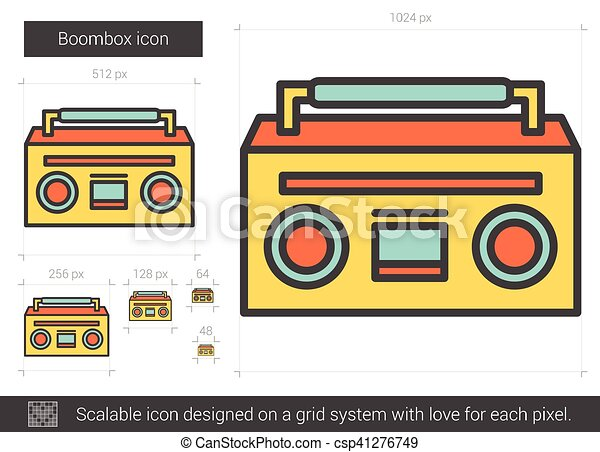 boombox line icon boombox vector line icon isolated on white rh canstockphoto com boombox vector free boombox vector icon