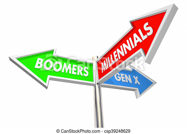 Millennials geration X baby boomers road signs 3d ilustration - csp39248629