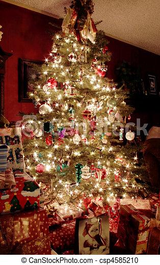 boompje, kerstmis, nacht - csp4585210