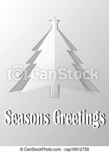 boompje, papier, kerstmis, vector, uitsnijden - csp16912758