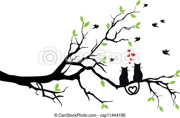 boompje, vector, liefde, poezen - csp11444186