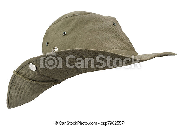 Boonie hat isolated on white background - csp79025571
