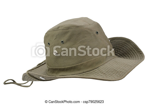 Boonie hat isolated on white background - csp79025623