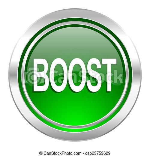 boost icon, green button - csp23753629